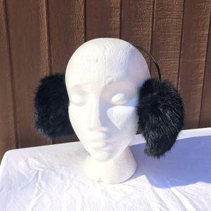Vintage Black Rabbit Fur Earmuffs Headband
